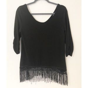 A. Beyer Black Fringe Size Medium Top